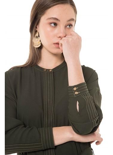 Vivencia Dikiş Detaylı Reglan Kol Rahat Yazlık  Giy Çık Haki